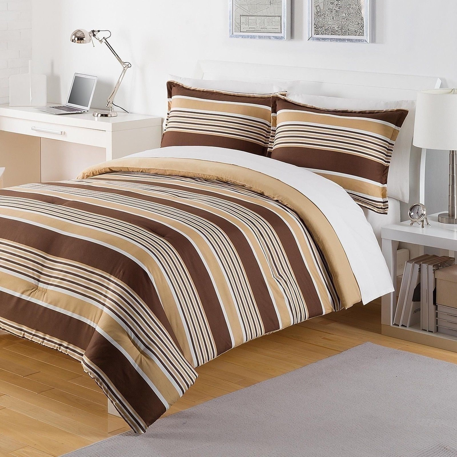 New Twin Full Queen King Bed Bag Brown Tan White Stripes 3