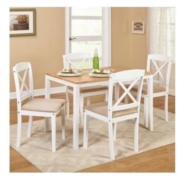 5 Piece Wood White Dining Table Set 4 Chairs Room Kitchen: White 5 Piece Wooden Dining Set 4 Tan Chairs Table Kitchen