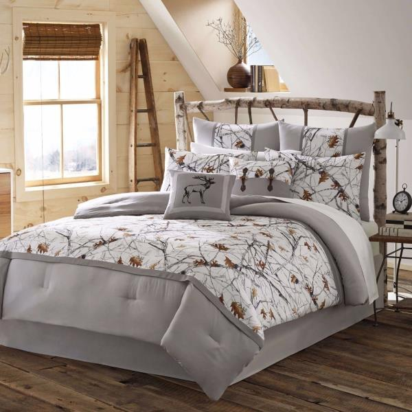 new twin full queen king bed gray grey white trees snow camo 4 pc comforter set ebay. Black Bedroom Furniture Sets. Home Design Ideas