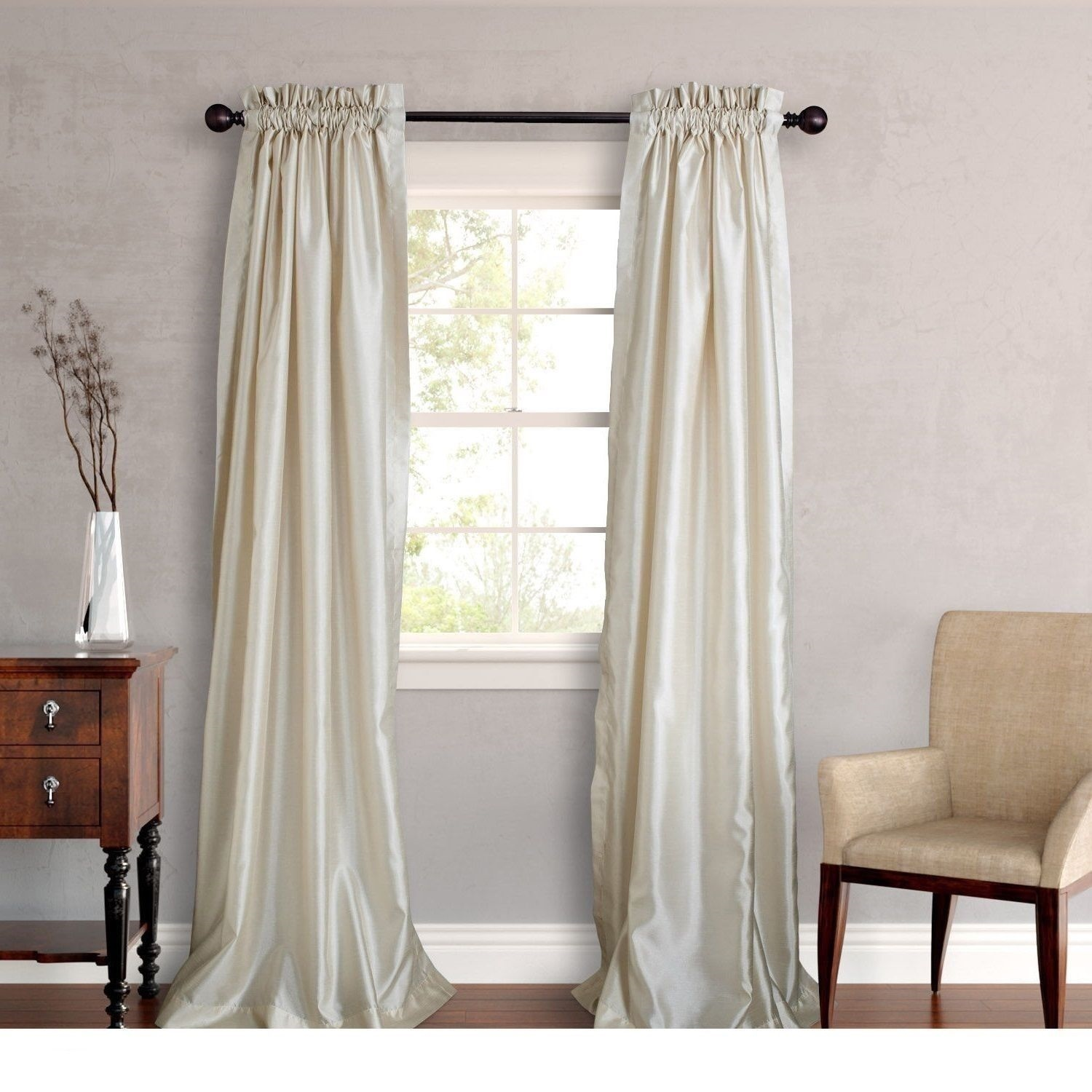 New Set 2 Window Curtains Panels Drapes Pair 108 Faux