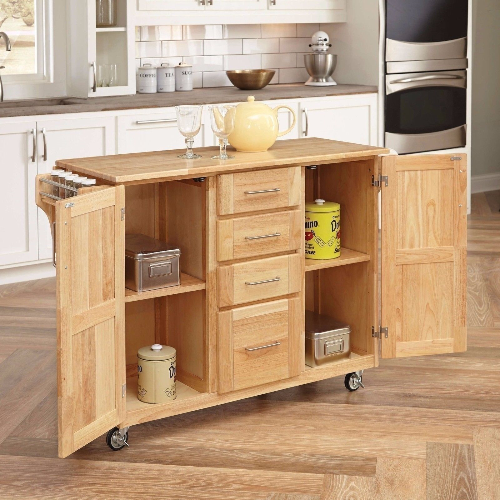 New natural kitchen island utility cart rolling cabinet Kitchen utility island