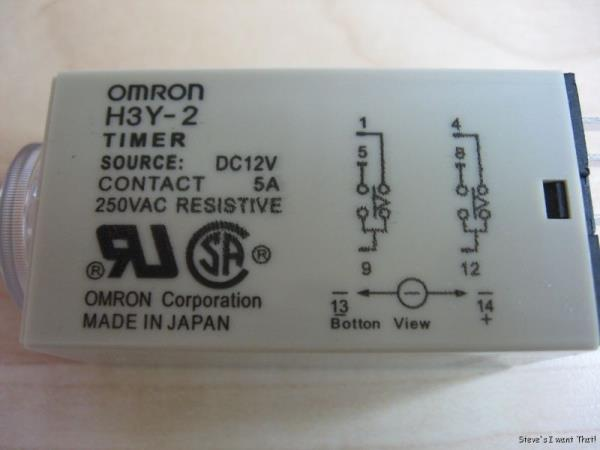 omron delay on timer time relay 2~60sec 2 pole 12vdc h3y 2 w please see photos questions welcome thanks for looking