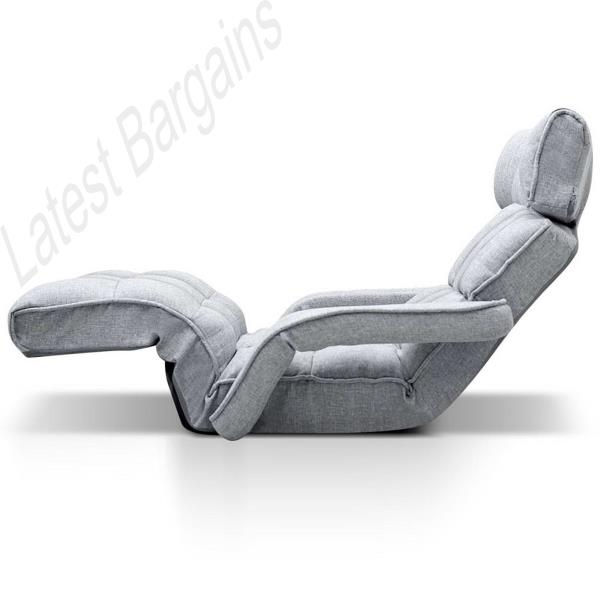 Grey Adjustable Sofa Bed Chaise Chair Lounge Recliner Arms