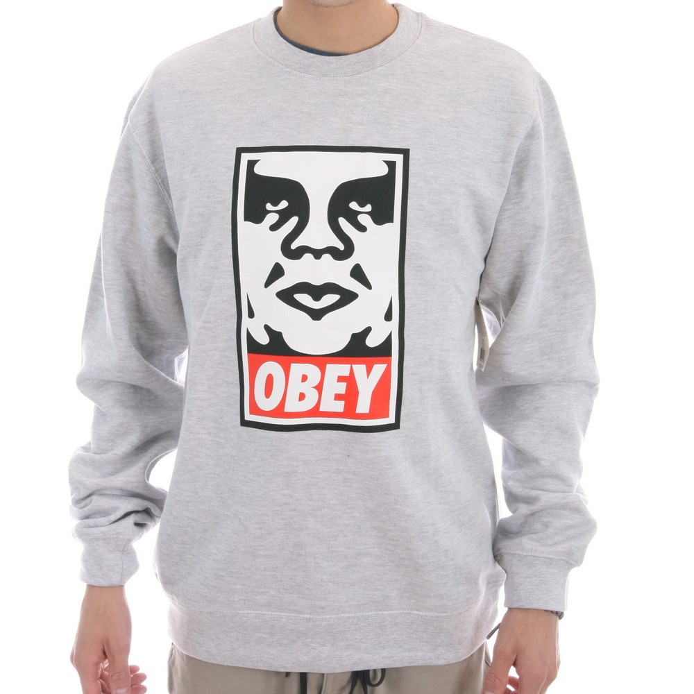 OBEY Crew Icon Face Heather Grey Sweater Pullover FREE POST