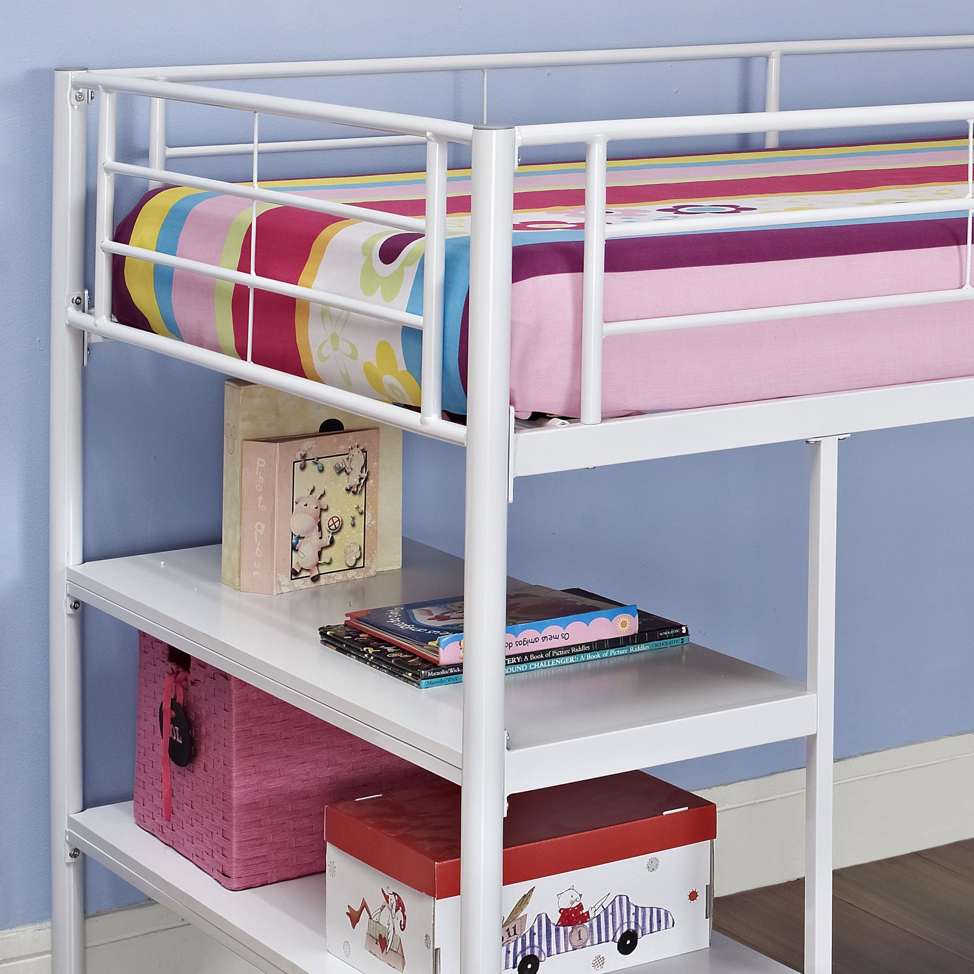 kids jr loft bed twin white metal frame bunk student desk storage