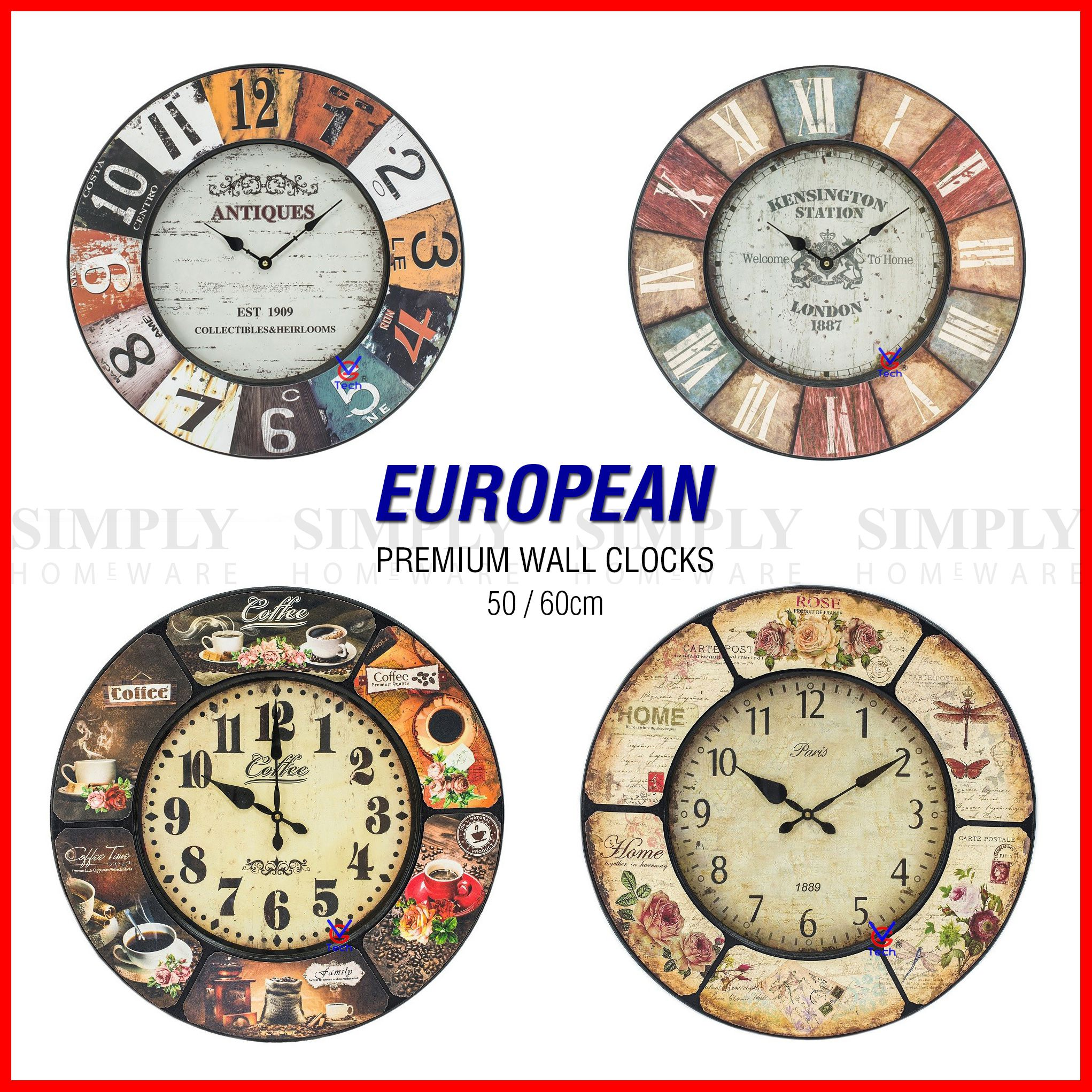 Large Vintage Retro Wooden Wall Clock Shabby Chic Rustic Silent Art Roman 60cm