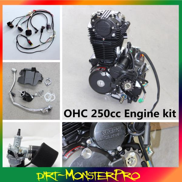 ohc 250cc engine complete w 039 wiring harness carby carburetor ohc 250cc engine complete w wiring harness carby carburetor mx enduro dirtbike