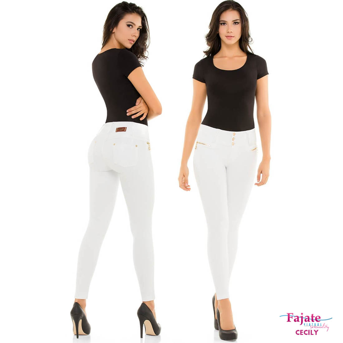 Colombian Jeans Push Up Butt Lifter White Fajate Virtual ...