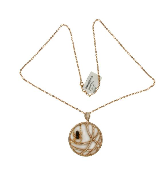 145 ct diamonds 18k rose gold tow side spider pendant necklace size luxo jewelry news letter premium jewelry 145 ct diamonds 18k rose gold tow side aloadofball Image collections