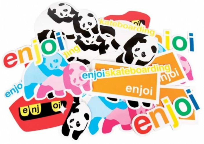 Enjoi Stickers 5 Pack Assorted Colour FREE POST New Skateboard decal