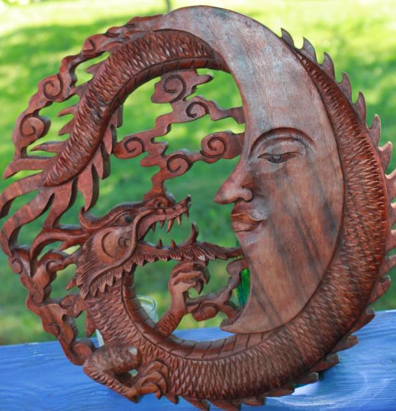 Dragon crescent moon wall art plaque panel hand carved