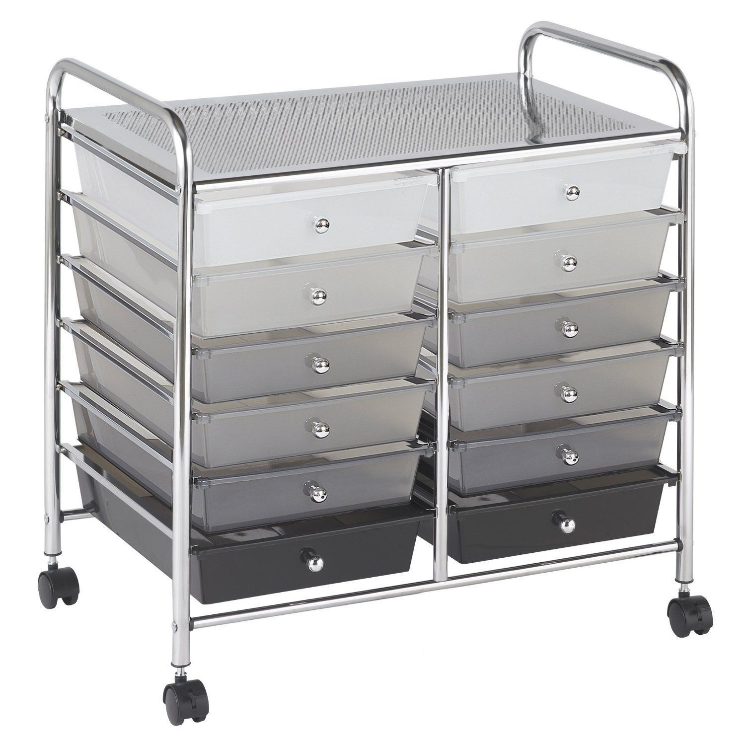 new rolling storage organization 12 shelves plastic