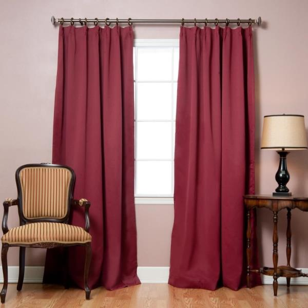 Pinch Pleated Thermal Insulated Drapes: Burgundy Pinch Pleat Thermal Insulated Blackout Curtains