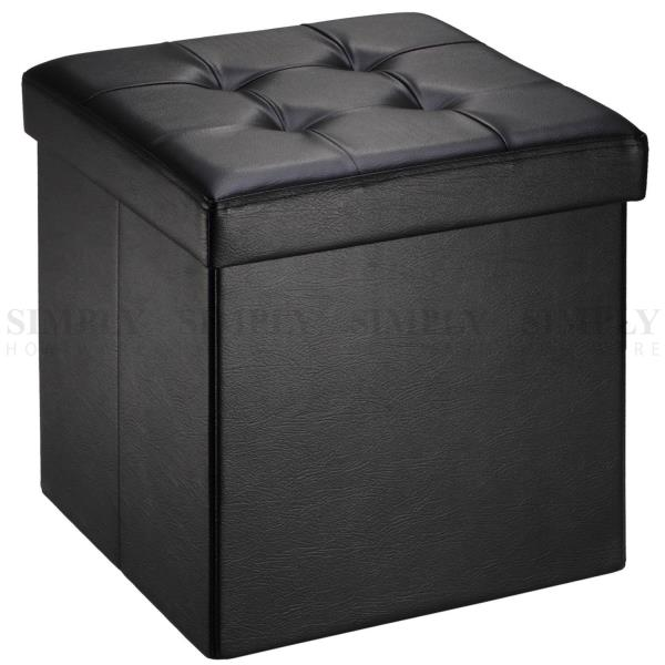 Folding Ottoman Storage Cube Footstool Stool Blanket Box