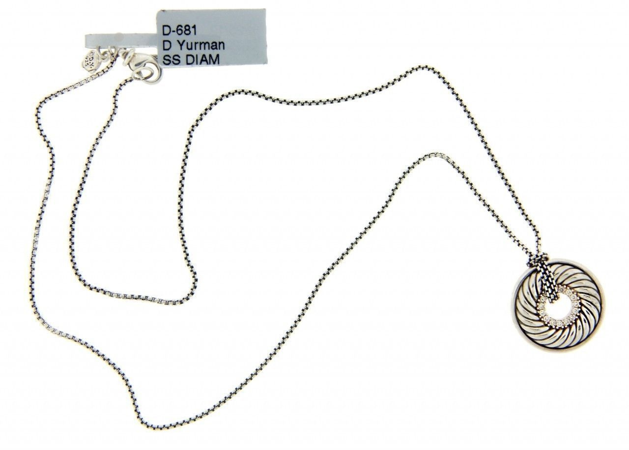 David Yurman Diamond Carved Cable Disk Necklace In