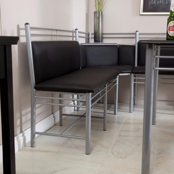 Black Bench For Dining Table: 3 Pc Black Silver Metal Breakfast Nook Dining Set Corner