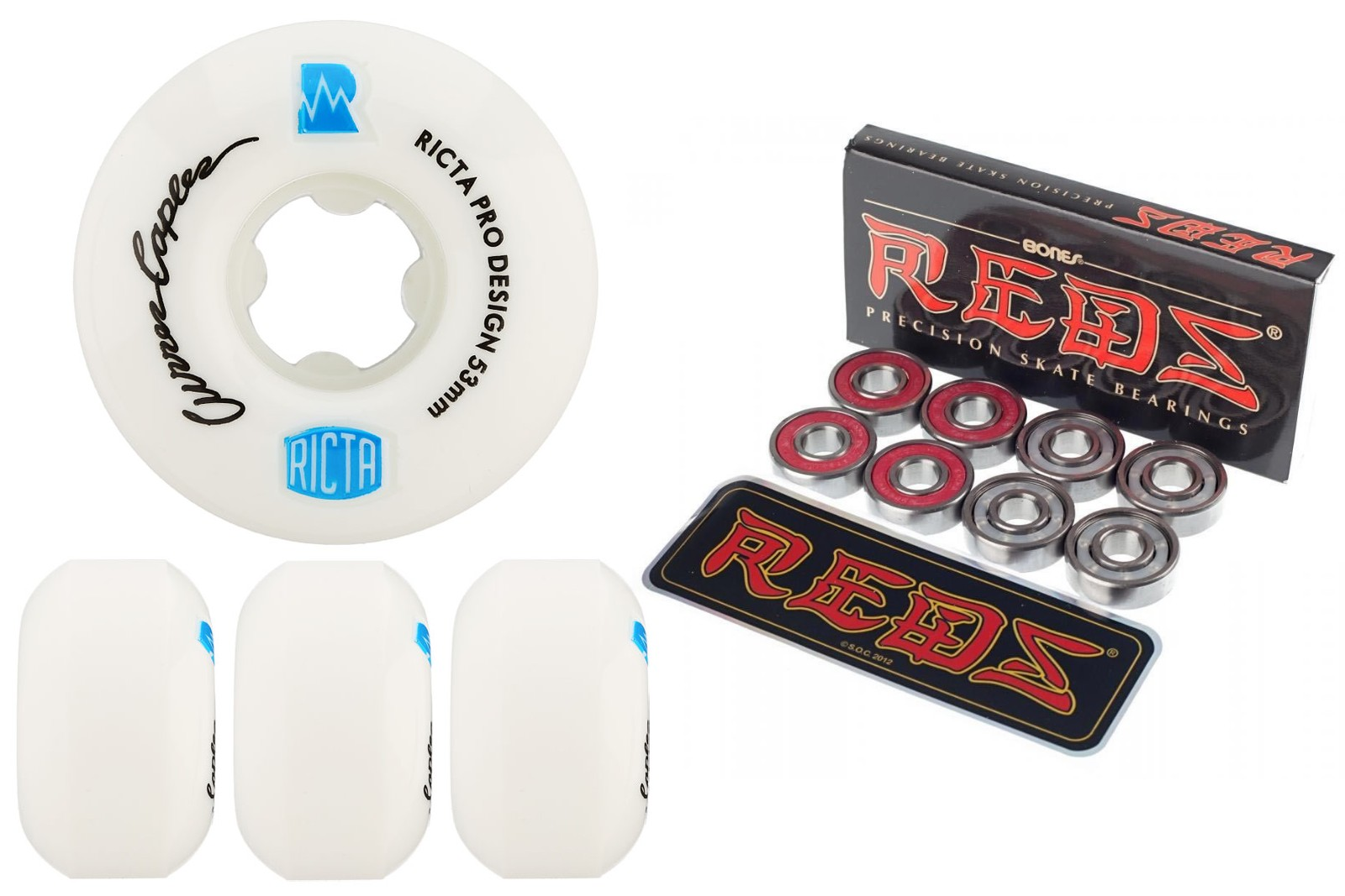 Ricta Wheels skateboard Curren Caples NRG 53mm with Bones Reds Bearings New FREE POST