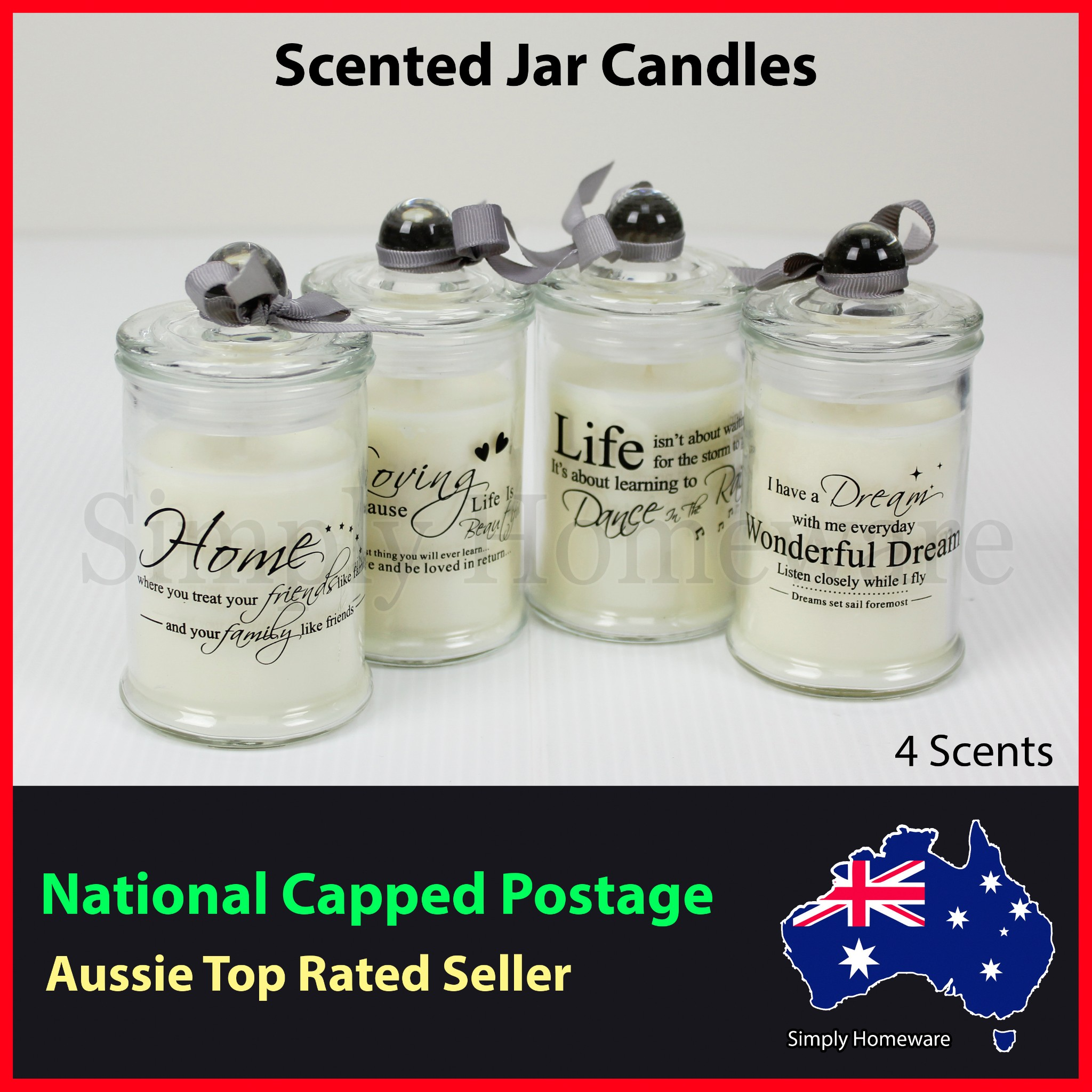 Scented Jar Candles 100% Soy Wax Candle Scents Fragrance Fragrant - All Natural
