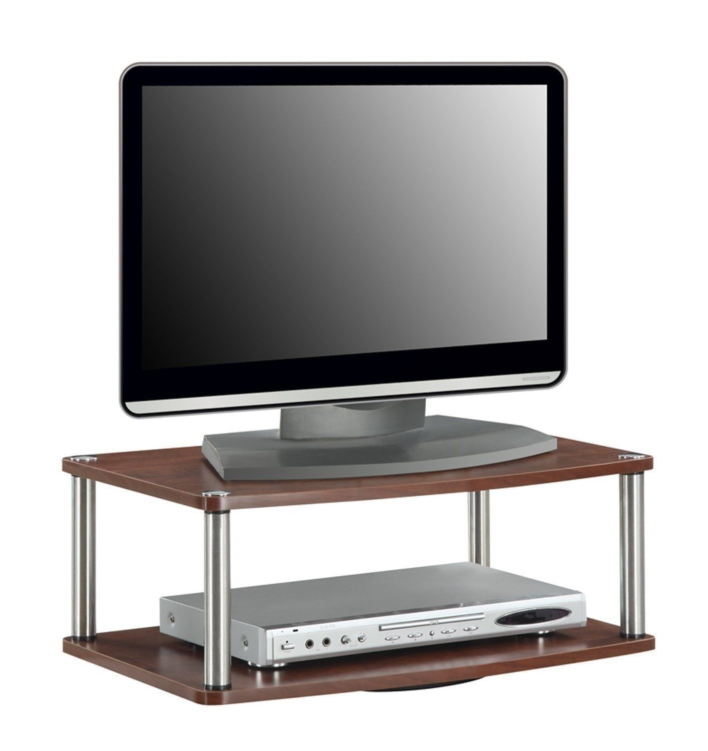 New Tv Monitor Swivel Stand Large 2 Tier Cherry Counter