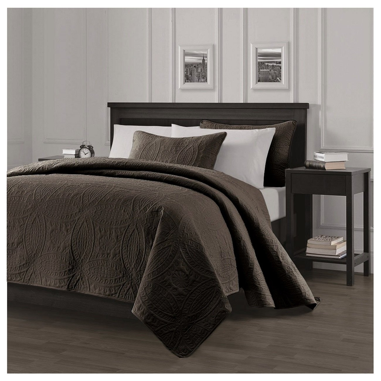Queen King Size Solid Brown Embossed Oversized 3 Pc Quilt