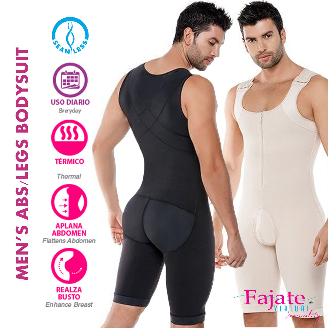 f283eeb21cd52 Colombian Fajate Men Full Body Shaper Tummy Lipo Waist Leg Compression  Bodysuit