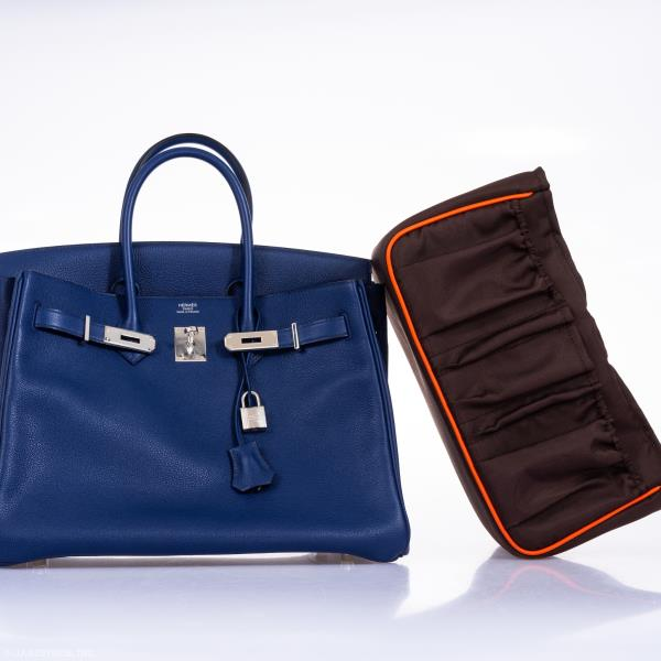 b389c285df Rare and limited edition Hermes Birkin 35cm Blue Sapphire Taurillon Novillo  leather, a deep blue ocean tone. Interior toile is scarf print Sea Surf and  Fun ...