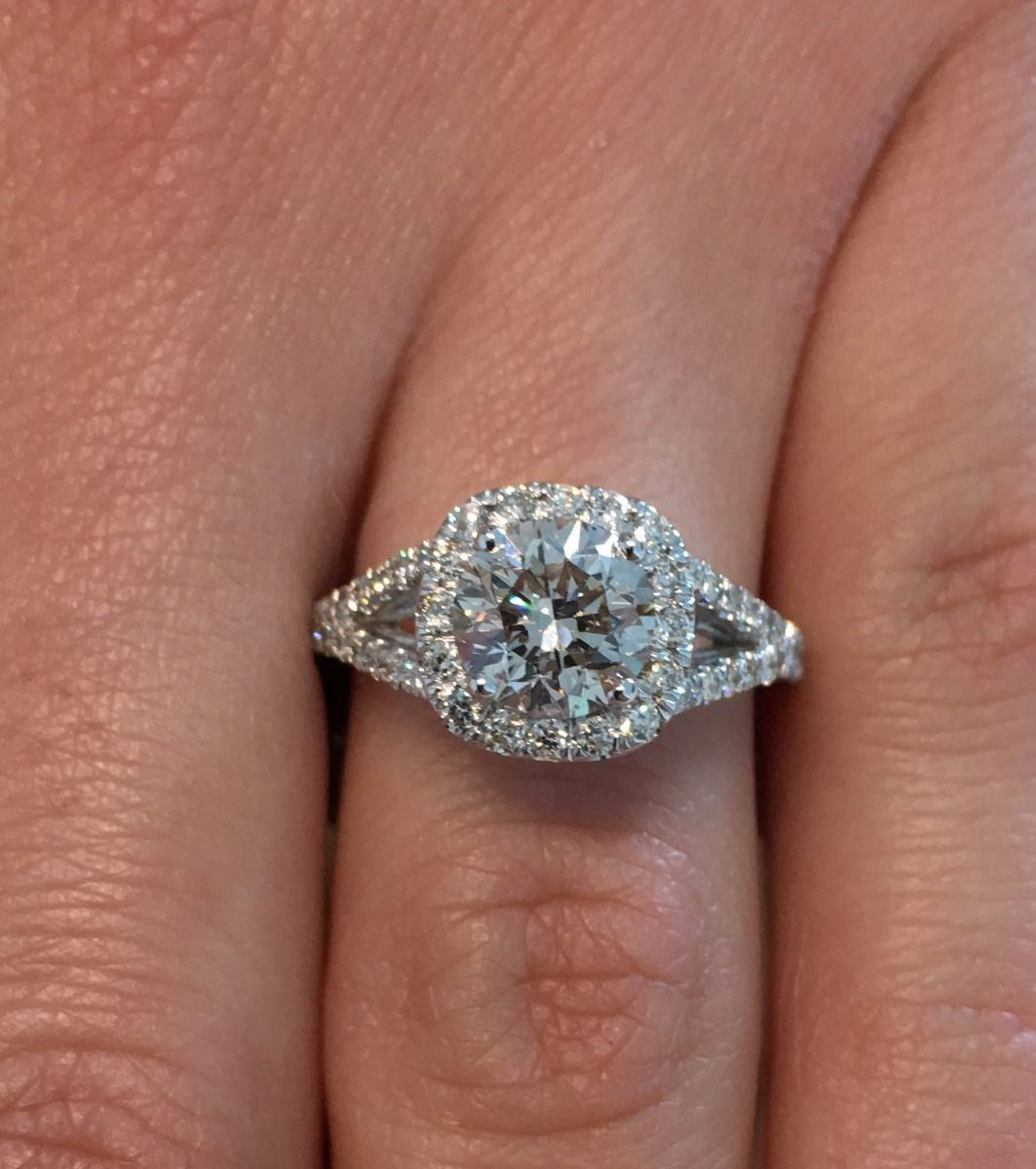 3 00 Ct F Vs1 Round Cut Diamond Cushion Halo Engagement Ring 14k