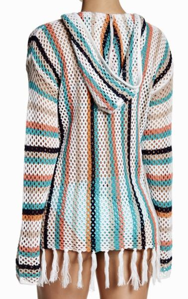 SPERRY TOP SIDER Havana Crochet Hoodie Striped Swimsuit Cover Up New Womens XS S