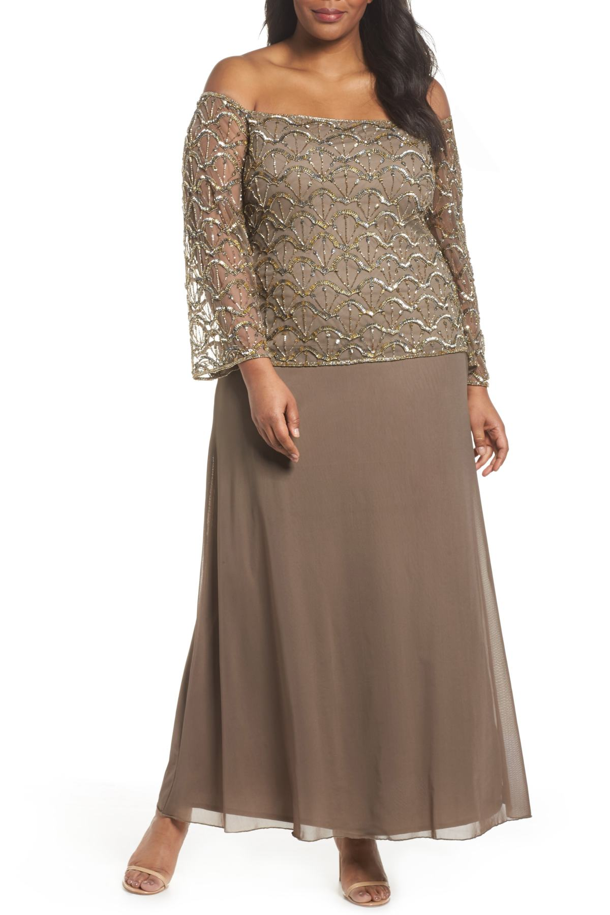 00e5e755a3ef9 Details about Pisarro Nights Embellished Off the Shoulder Gown SZ 16W  ( 228) Mocha