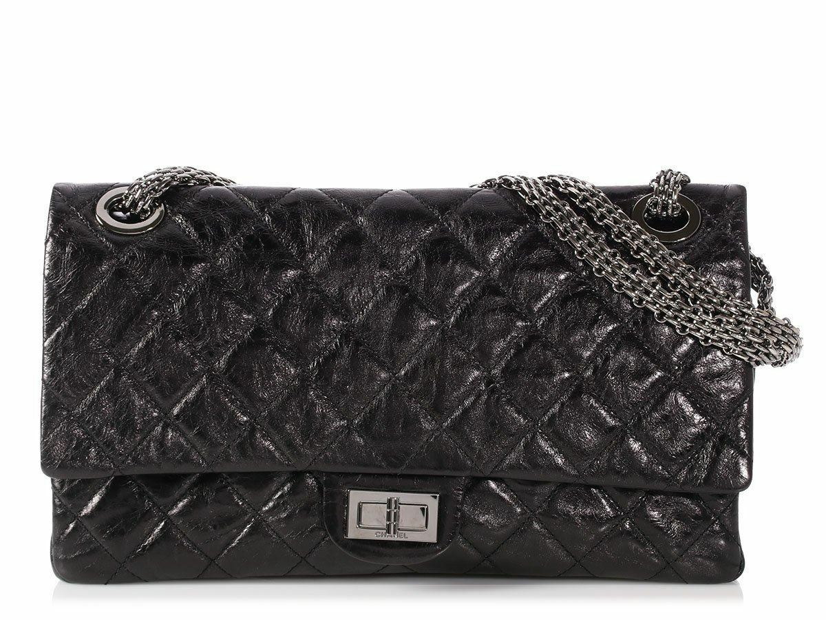 1f420bc9eb2d9 CHANEL 2008 Black Quilted Distressed Calfskin Reissue 228 Bag Purse ...