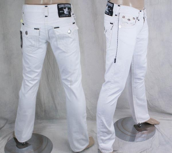 Pin on Discount Designer Clothing | Ebay- FREE Shipping |True Religion Jeans White With Black Stitching