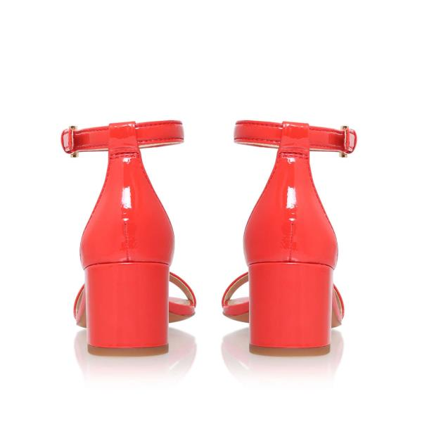 404966bc8c3 Details about TORY BURCH 🌷 Cecile Ankle Strap Mid Heel Sandals 🌷 Coral  Red Pepper Size 10 M