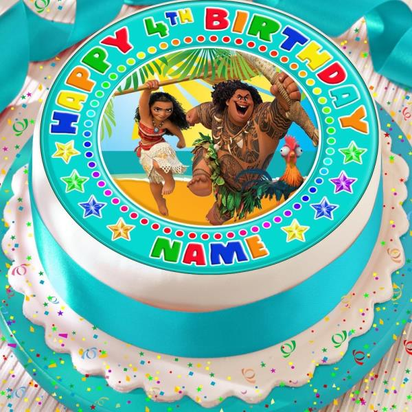 Moana Maui Personalised Precut Edible 75 Inch Birthday Cake Topper