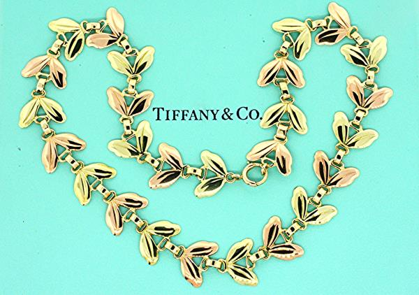 6572ac0f94134 Tiffany & Co. Leaf Flower Rose Green Gold Necklace Chain 14k 15.5 ...