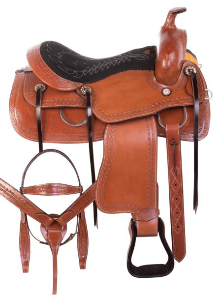 """USED 15/"""" 16/"""" WESTERN PLEASURE TRAIL RANCH HORSE LEATHER SADDLE TACK"""