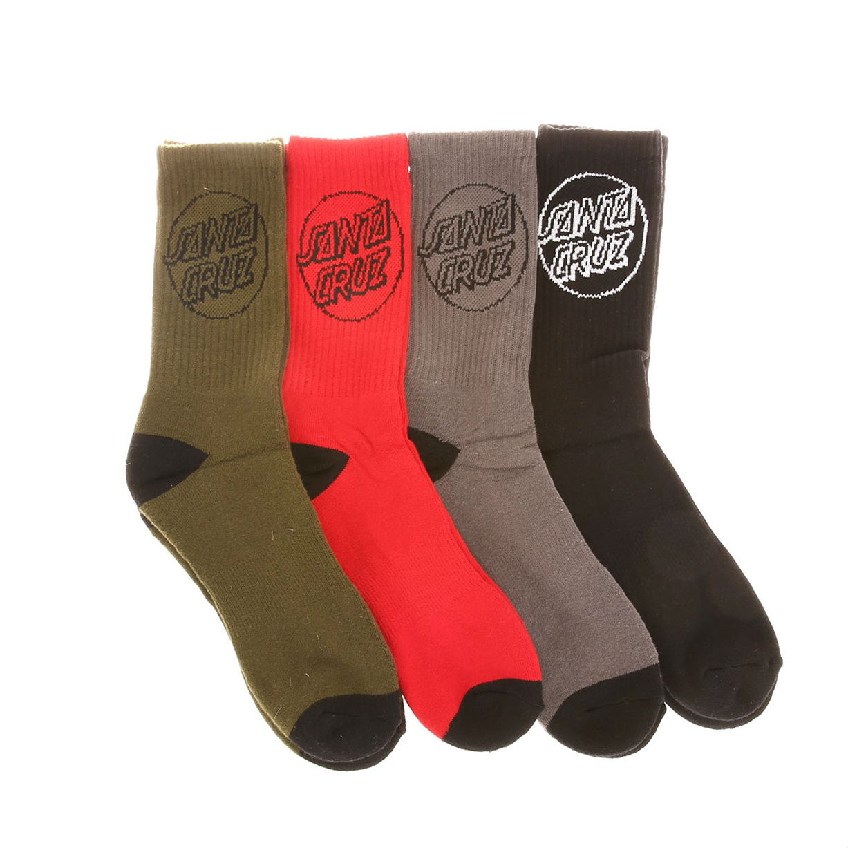 Santa Cruz Socks 4 Pack Colour Asst Crew Size 7-11 New Men Skateboard Sox