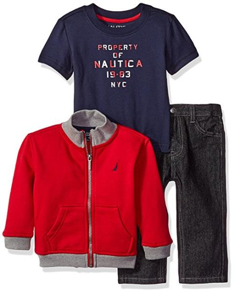 021cb1575301 Infant Boy s Nautica 3-Piece Pants Set with Full Zip Jacket and Tee ...