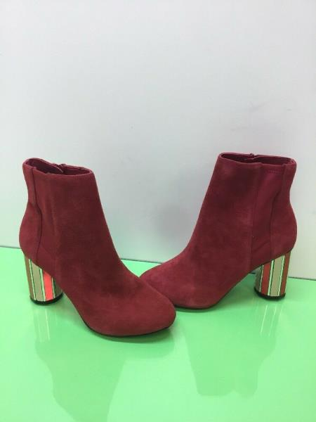 f04960fba8c ALDO 'Ocigossi' Red Suede/Fabric Side Zip Heeled Ankle Boots Women's ...