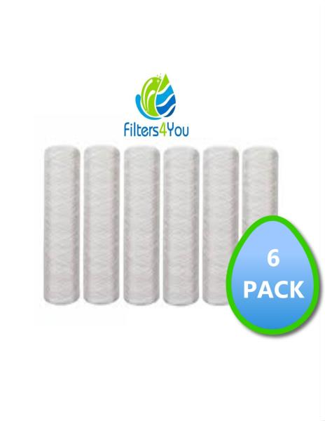 """6-Pack of 5 Micron Wound String Sediment Water Filter Cartridges 10/""""x2,5/"""" for RO"""