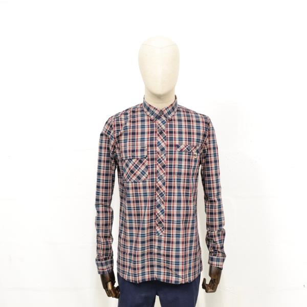 069d4ee6e6 Details about PRETTY GREEN Mens Langholm Long Sleeve Check Shirt in NAVY -  CLEARANCE