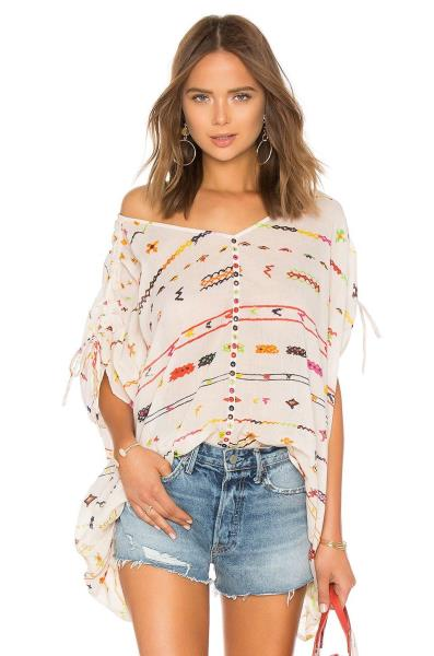 4279aceac72 MES DEMOISELLES White Multi-Color Poncho Salah Cotton Tunic Top OS New With  Tags