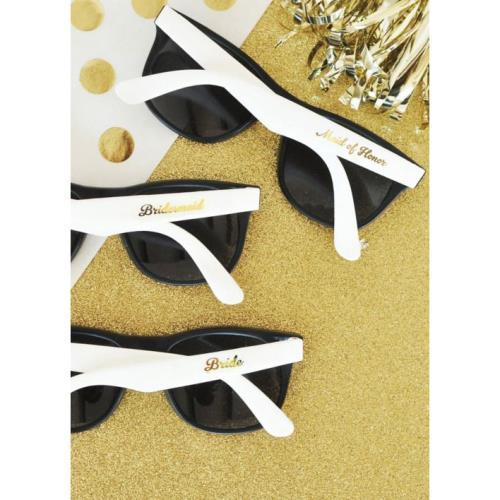 0c0ffdff5 Details about Black and White Bridal Party Sunglasses Set of 6 Bridesmaid  Gifts Wedding Party