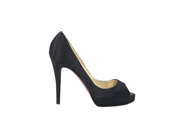 sports shoes 47ba0 cae54 Details about Black Christian Louboutin Satin Peep-Toe Pumps