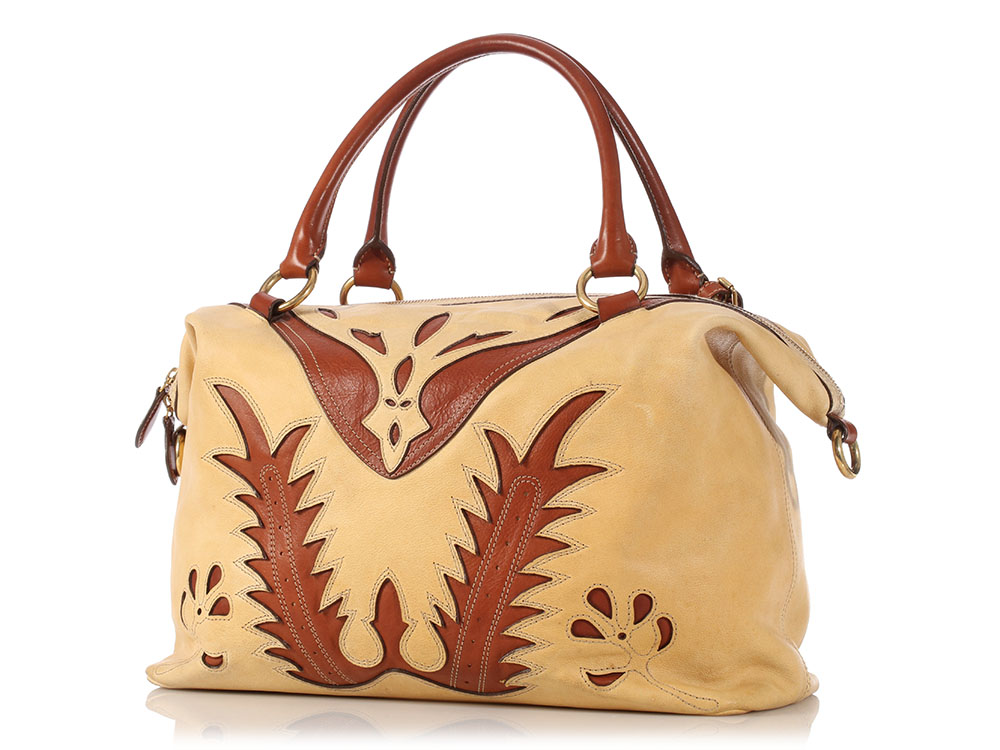 4f385208a422 Details about RALPH LAUREN Brown and Tan Leather Western Cutout Satchel Bag  ~ Retail  3695