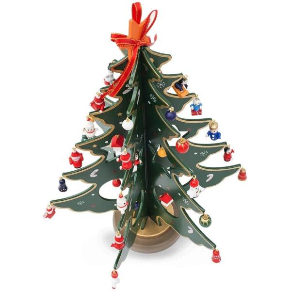 Details About Wooden Tabletop Christmas Tree With 32 Miniature Christmas Ornaments 12 5 Inches