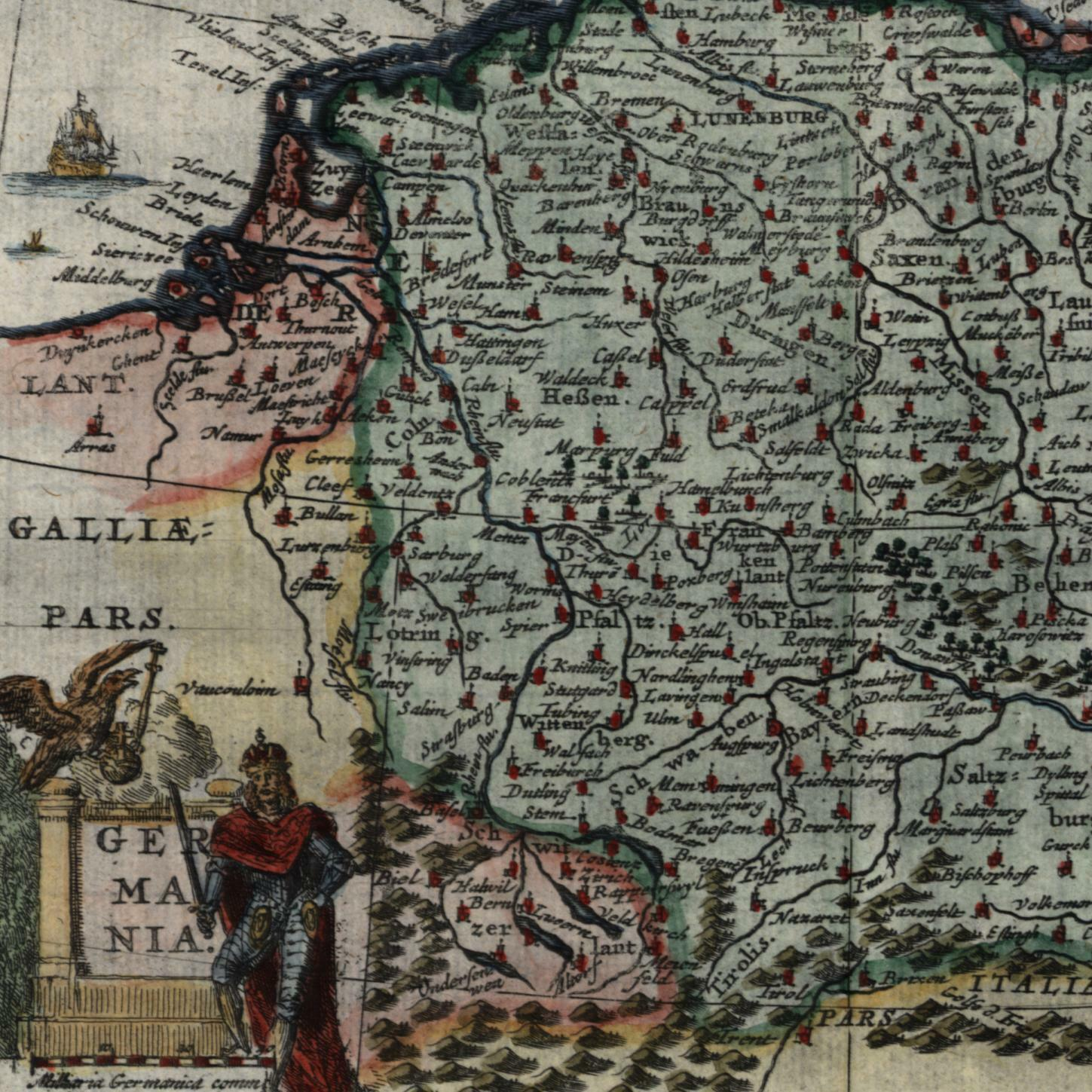 Map Of Germany To Color.Germany Europe Holland To Poland C 1683 Bertius Beautiful Decorative