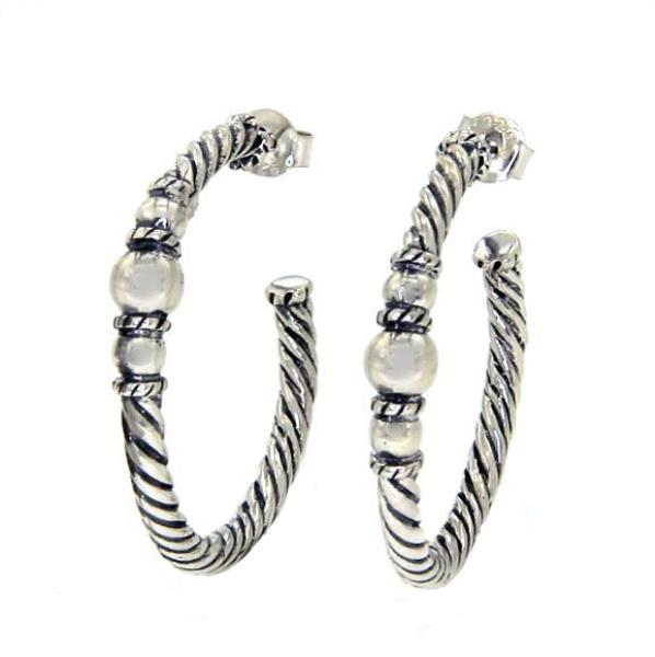 Luxo Jewelry News Letter - Premium Jewelry - FREE SHIPPING!!! 925 sterling Silver Rope Bali Huggie Earring»E23