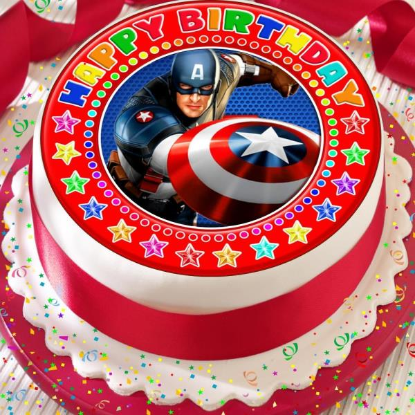 Captain America Red Precut Edible Happy Birthday Cake Topper