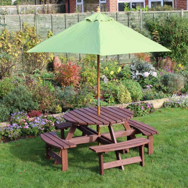 Seater Round Picnic Table Including Parasol Pub Quality Picnic - Picnic table parasol