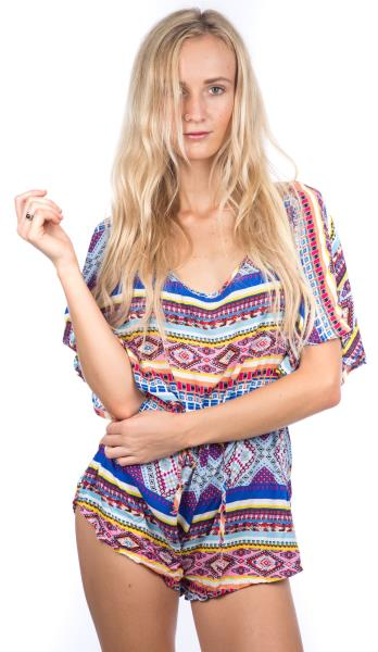 8181057f13 Details about Womens Fashion Colour Print Romper Playsuit Festival Boho  Gypsy Grunge